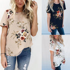 Short Sleeve Floral Printed Casual T-Shirt