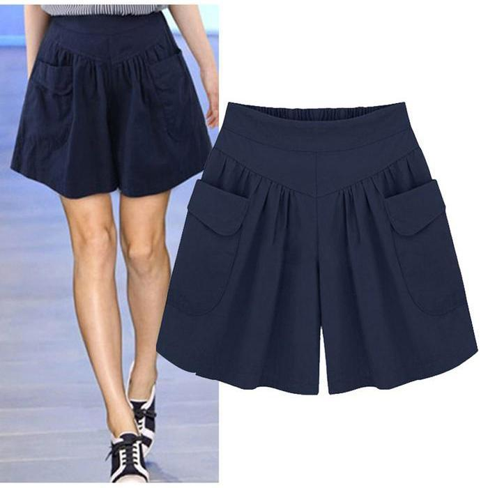 Plus Size Cotton Solid  4 Color Loose Soft Short Pants