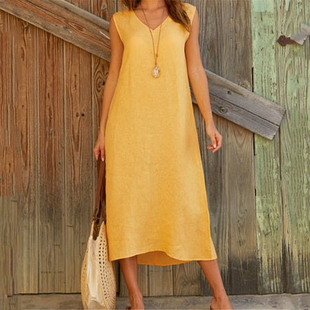 Women V Neck Sleeveless Solid Maxi Dress