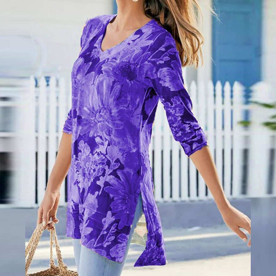 Casual Printed V-Neck  3/4 Sleeve Blouses