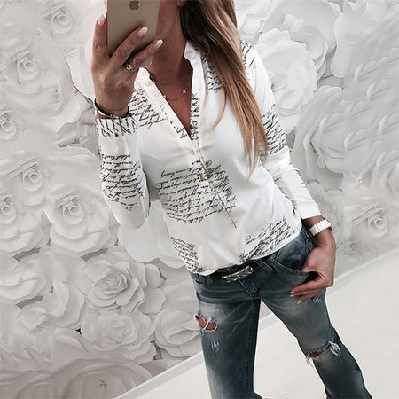 Women Letter Printed V Neck Long Sleeve Shirts