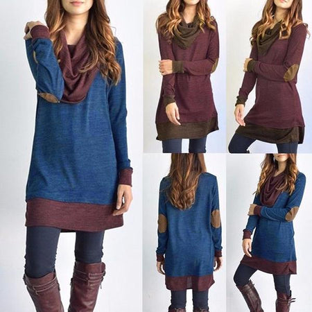 Casual Long Sleeve Stitching Pullover