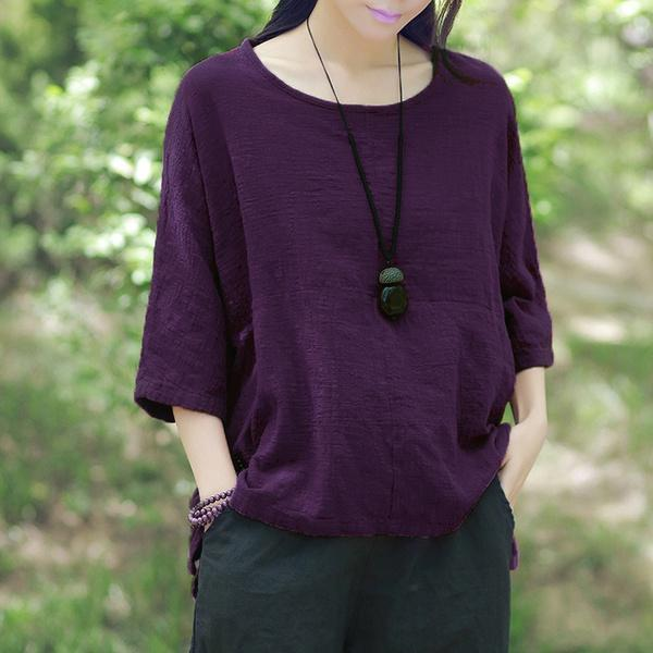 Women's Round Neck Vintage Cotton Loose Tunic Pullover Blouse
