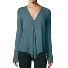 Casual Solid Chiffon Long Sleeve Blouse