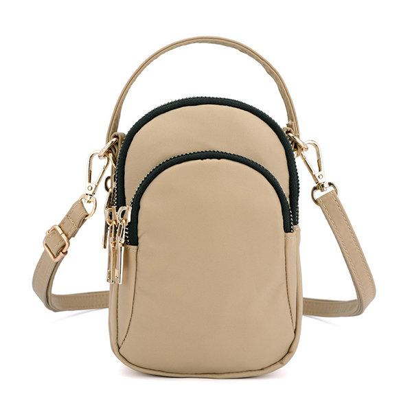 Nylon Waterproof Multi- Slot Solid Crossbody Mini Bag