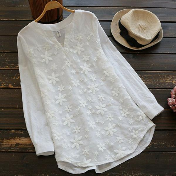V-neck Embroidered Long Sleeve Shirts