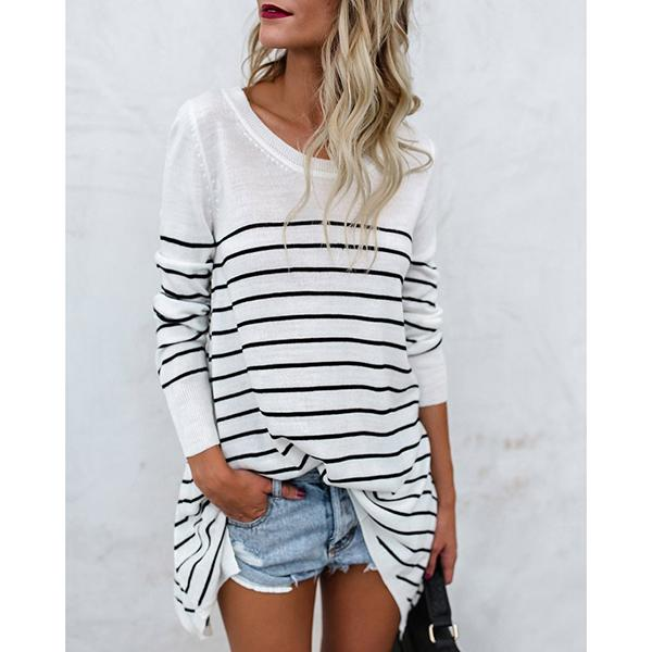 Fashion Round Neck Stripes Blouses