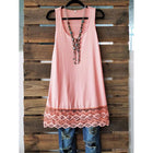 Women Round Neck Sleeveless Lace Tank