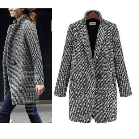 Women Elegant Houndstooth Slim Thick Coat