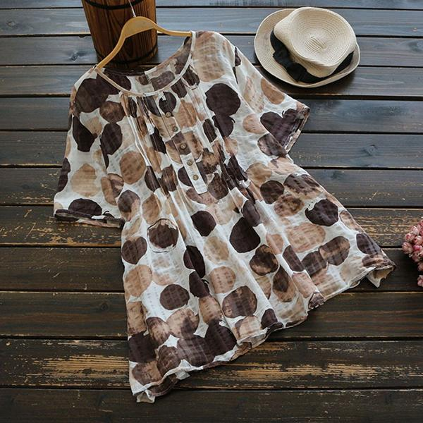 Casual Buttoned Folds Polka Dots Printed Blouse
