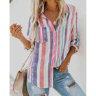 Rainbow Striped Button Loose Shirt