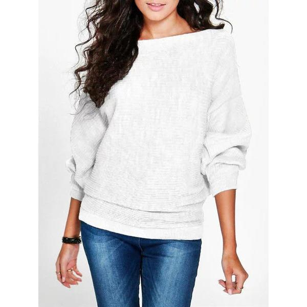 Casual Boat Neck Cotton Pullover