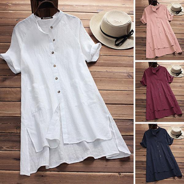 Women Vintage Irregular Hem Short Sleeve  Blouses