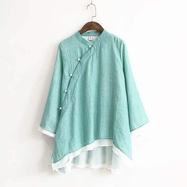 Solid Oblique Placket Vintage Button Blouses