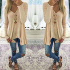 V Neck Asymmetric Hem Plain Blouses