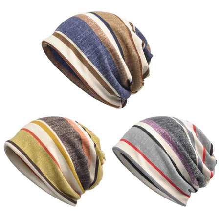 Dual-use Cycling Neckerchief & Head Caps Stripe Hiking Scarves Neck Warmer Cap
