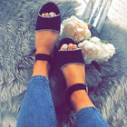 Women PU Wedge Sandals Casual Adjustable Buckle Shoes