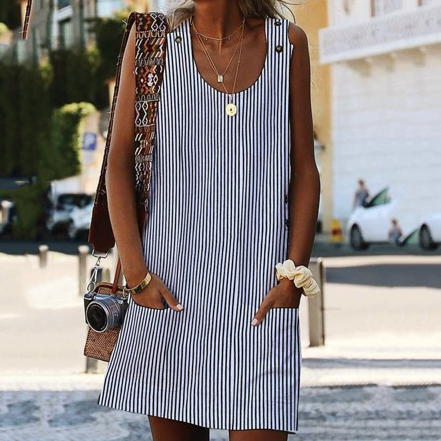 Bohemian Plus Size Women Dresses Shift Daily Pockets Striped Dresses