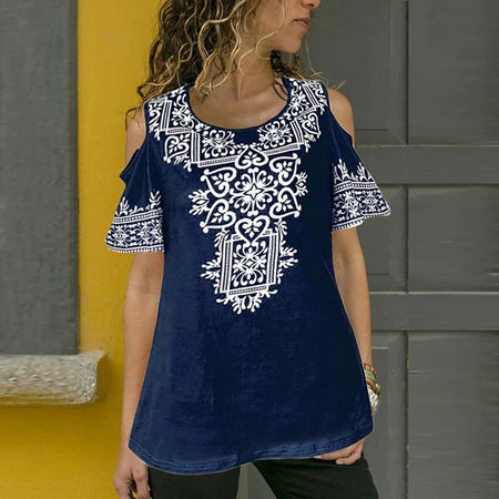 Summer Short Sleeve Printed Off Shoulder T-Shirts