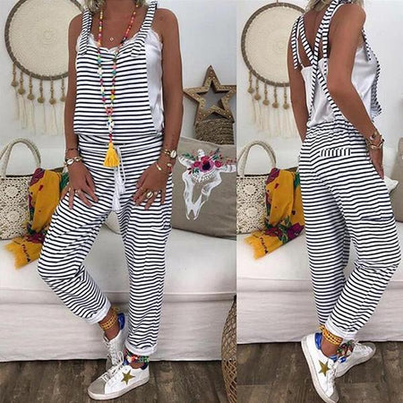 Women Spaghetti-Strap Casual Stripe Jumpsuits