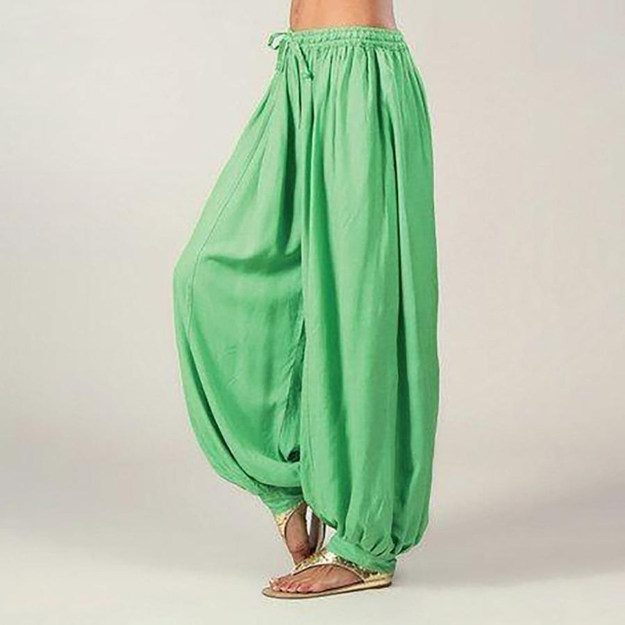 Solid Color Loose Elastic Band Wide Leg Pants
