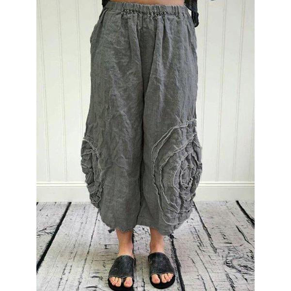 Plus Size Casual Solid Color Retro Loose Pants