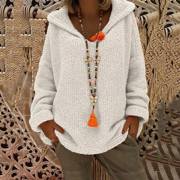 Solid Color Hooded Plain Loose Long Sleeve Knitting Sweaters