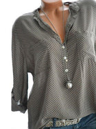 Casual Polka Dot Print Loose Long Sleeve Blouses For Women