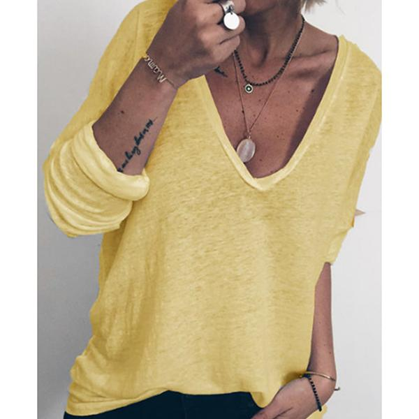 Casual V Neck Long Sleeve Women Fall Blouses