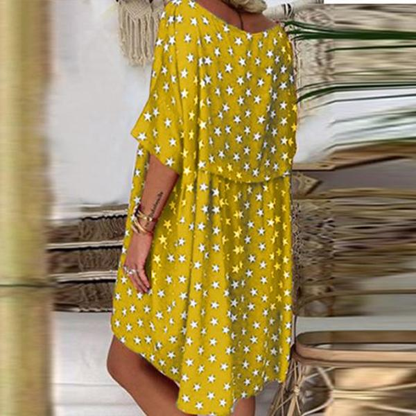 Print Loose Round Neck Short Sleeves Dress