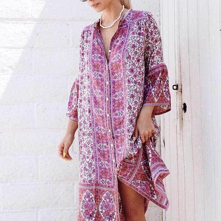 Temperament Printed V-neck Dress