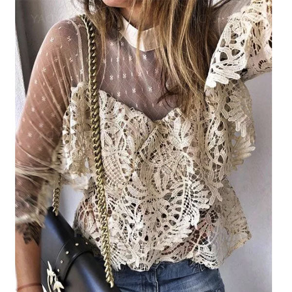 Women Solid Color High Collar Lace Blouses