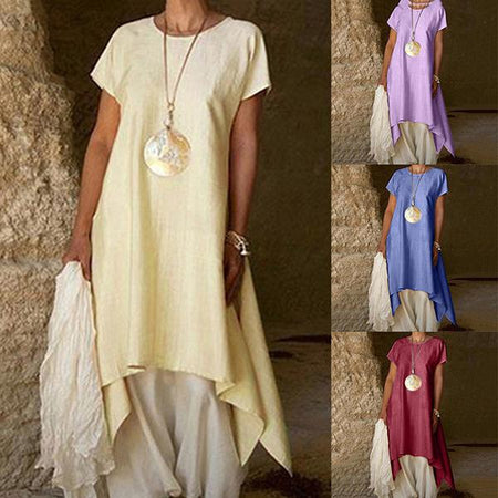 Casual Solid Color Irregular Dress