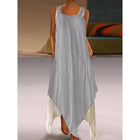 Casual Round Neck Asymmetric Hem Color Block Maxi Dress