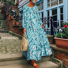 Loose Long Sleeve Vintage Floral Printed Ladies Beach Dress