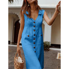 Plus Size Casual Solid Color Sleeveless V Neck Pockets Midi Dress