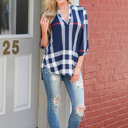 Women V Neck Plaid Casual Shirts