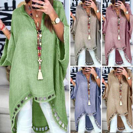 Women Soid Color V Neck Casual Loose Tops