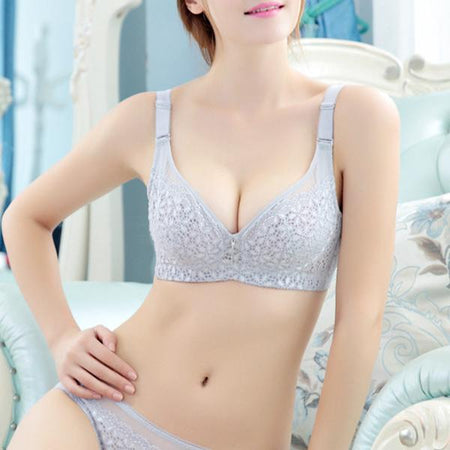 Sexy Three Quarters Embroidery Underwire Bra
