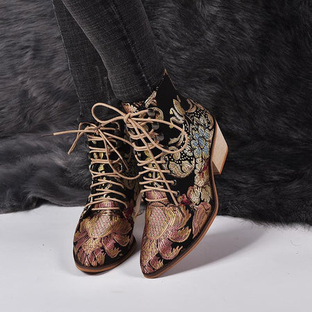 Fashion Embroidered Ladies Ankle Boots