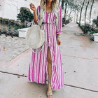 Women's Button Up Split Striped Maxi Dress