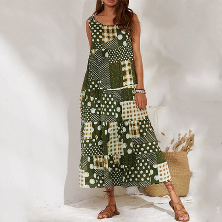 Vintage Polka Dot Printed Sleeveless Casual Dress