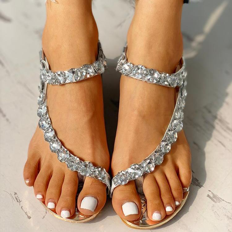 Stud Detail Slingback Thong Sandals