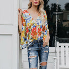 Women V Neck Printed Loose Casual Blouses