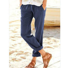Solid Casual High-rise Pants