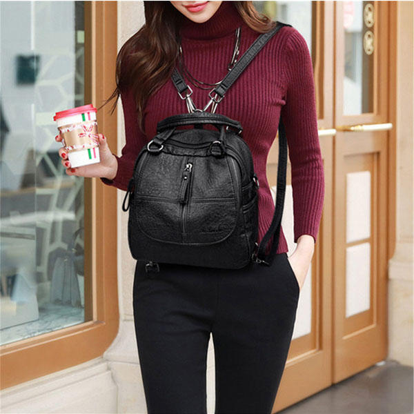 Women Fashion Plaid Handbag Multipurpose Backpack Shoulder bag Handbag