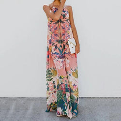 Bohemian Printed V Neck Vacation Dress