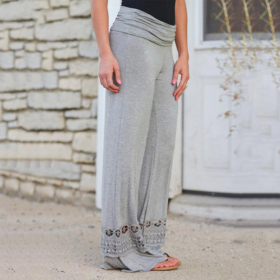 Casual Loose Lace Stitching Solid Pants