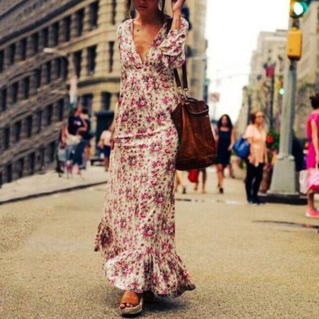 Fashion Long Sleeve  Dense Flower Printed Maxi Dress