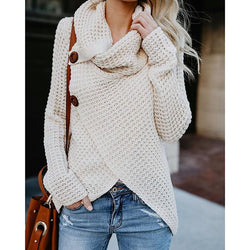 Solid Color Buttons Irregular Sweaters